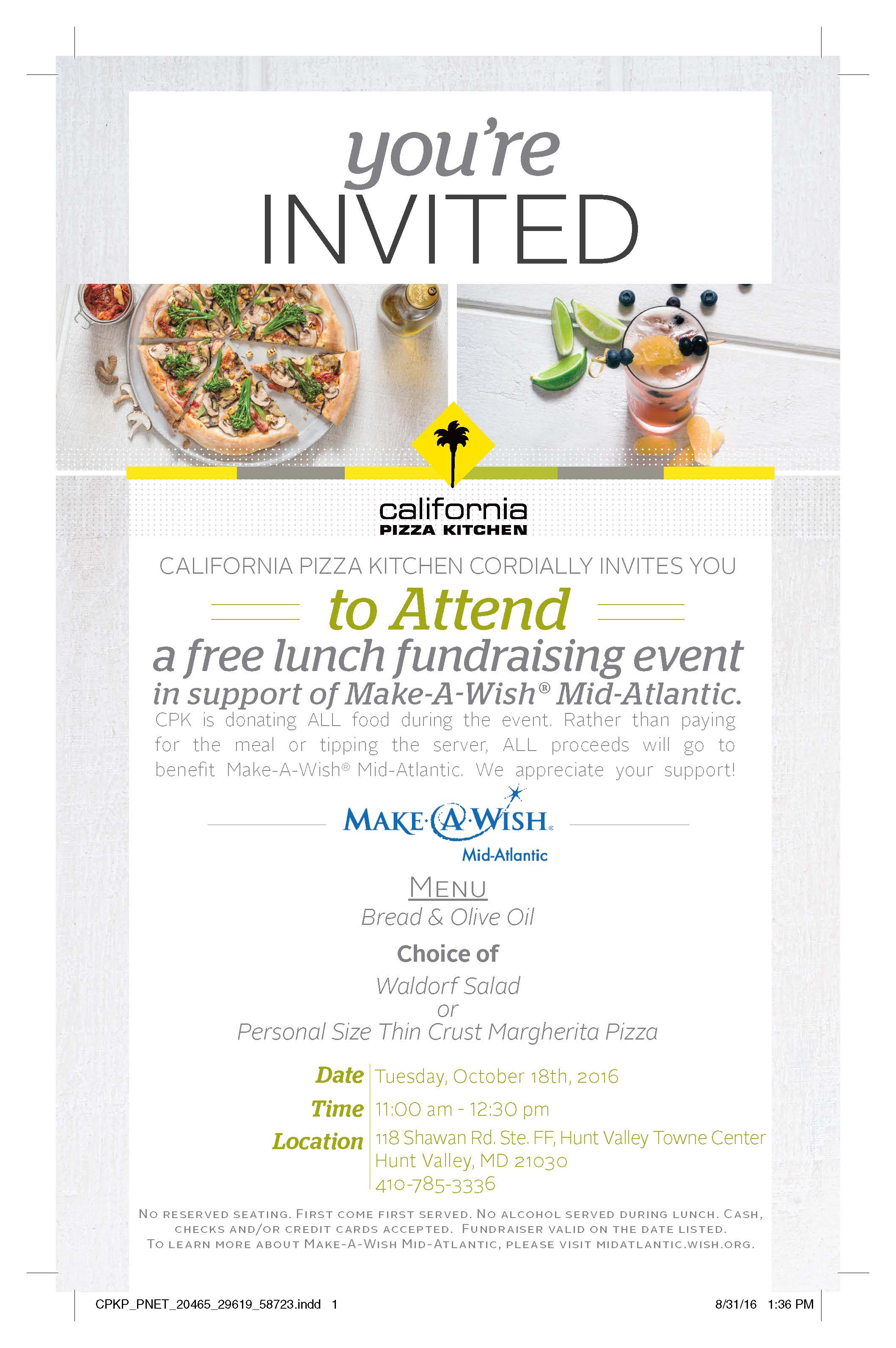 CPK Fundraising Lunch for Make A Wish -
